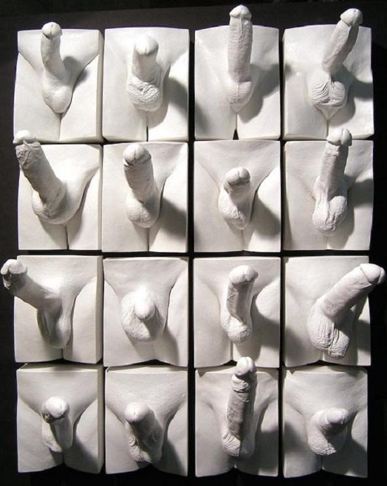 """Un uomo è due persone, sé stesso e il suo cazzo. Un uomo porta sempre il suo amico alle feste. Dei due, l'amico è più simpatico, perché è più spontaneo nel manifestare i suoi sentimenti (Beryl Bainbridge) Nella foto, un'opera di Jamie McCartney, Muro di peni, realizzata insieme a """"The Great wall of vaginas"""", 2014 CREDITS: http://jamiemccartney.com/"""