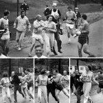 1967 - Kathrine Switzer è stata la prima donna a correre la maratona di Boston. Quando l'organizzatore Jock Semple realizzò che una donna stava partecipando tentò di fermarla