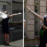2013 - Una donna affronta un cannone d'acqua in Turchia